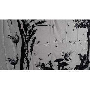 Tenture maxi au pays merveilleux noir et blanc