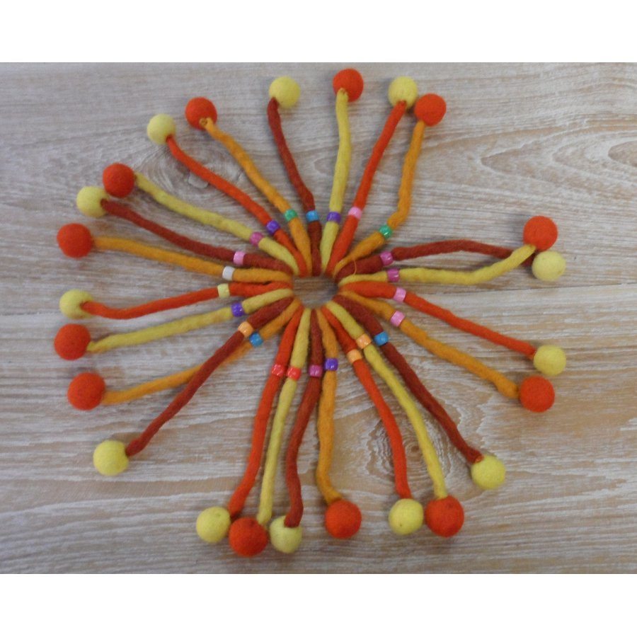 Chouchou pompon orange jaune