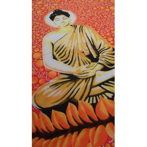 Tenture maxi bulles Bouddha zen jaune