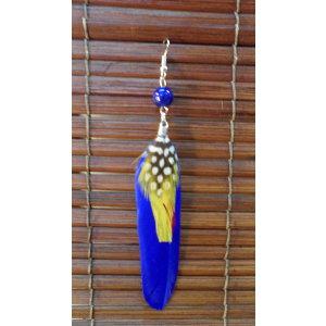 Boucles d'oreilles bird feather bleu roi
