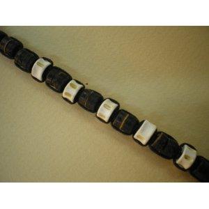 Bracelet 4 coton marron et perles