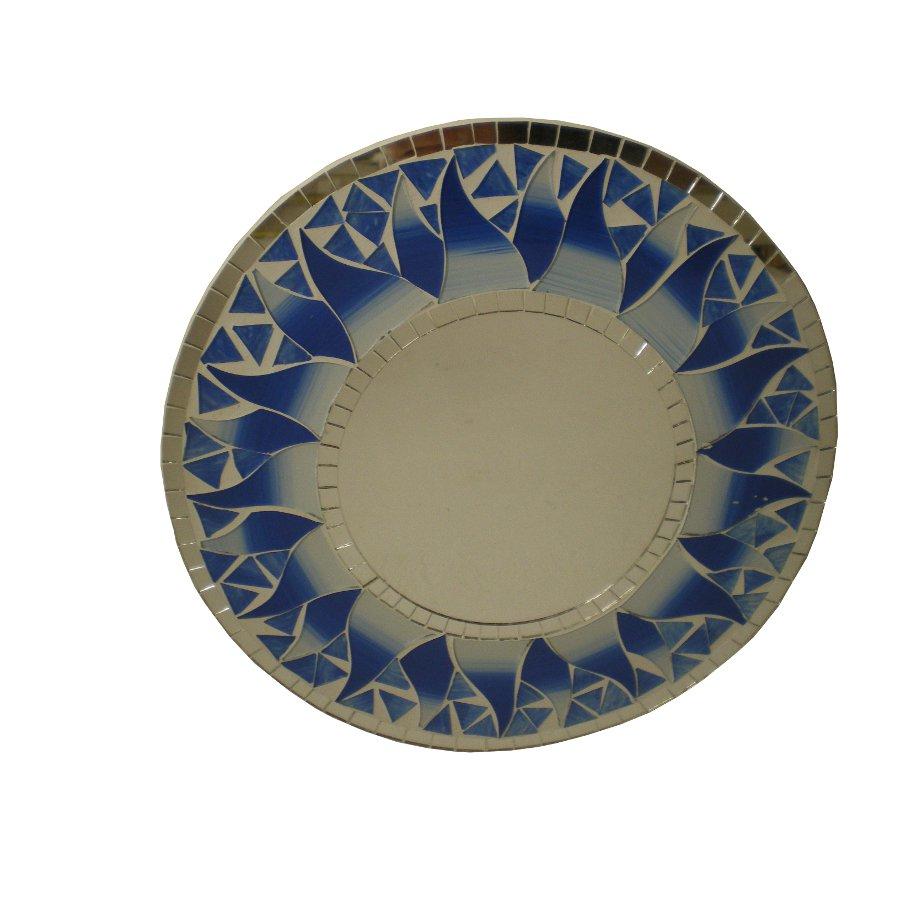 Miroir rond mosaïque indigo