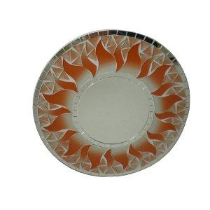 Miroir rond mosaïque saumon