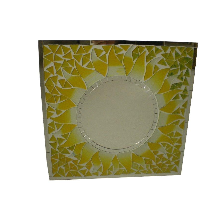 Miroir carré mosaïque citron