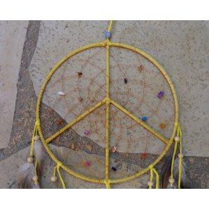 Attrape rêves 20 paix et amour jaune
