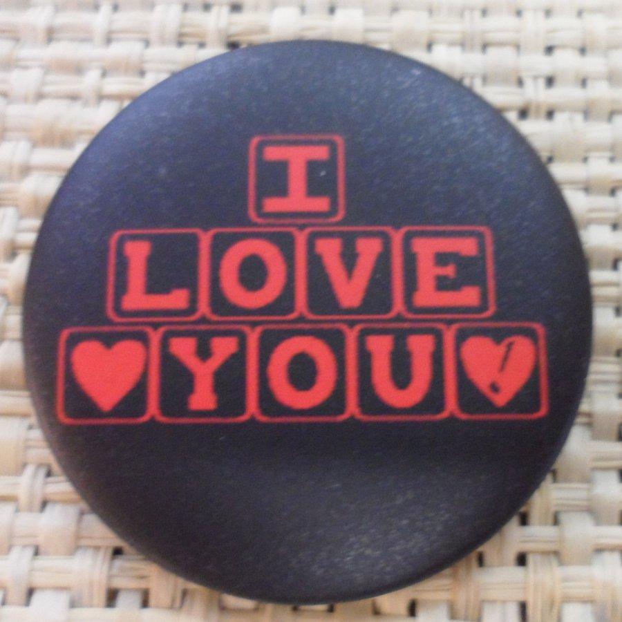 Badge I love you noir
