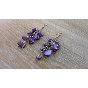 Pendants d'oreilles perles mauves