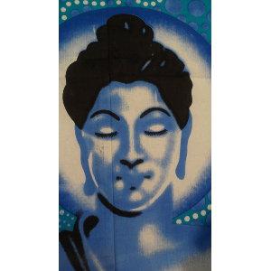 Tenture maxi bulles Bouddha zen bleu
