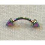 Piercing arcade incurvé 2 pointes rainbow