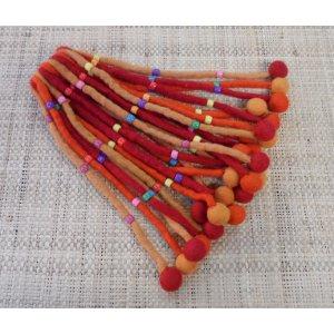 Chouchou big pompon rouge/orange