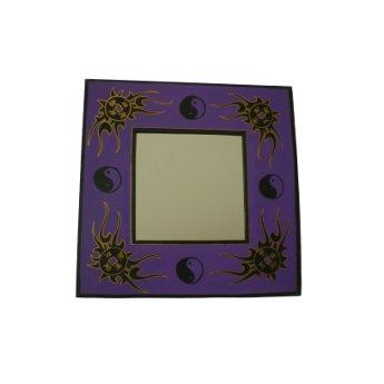 Miroir tribal yin yang et pièces chinoises