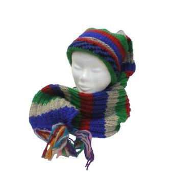 Bonnet écharpe à rayures