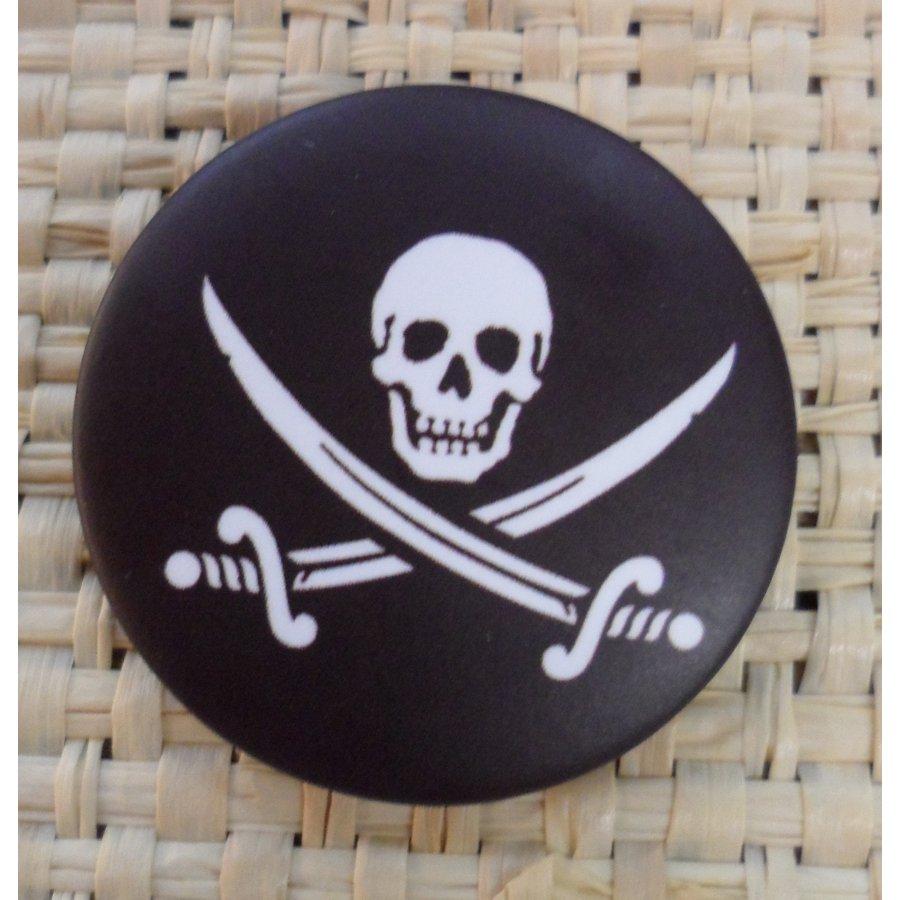 Badge 2 tête de mort noir & blanc