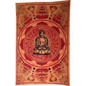 Tenture orange Bouddha lotus