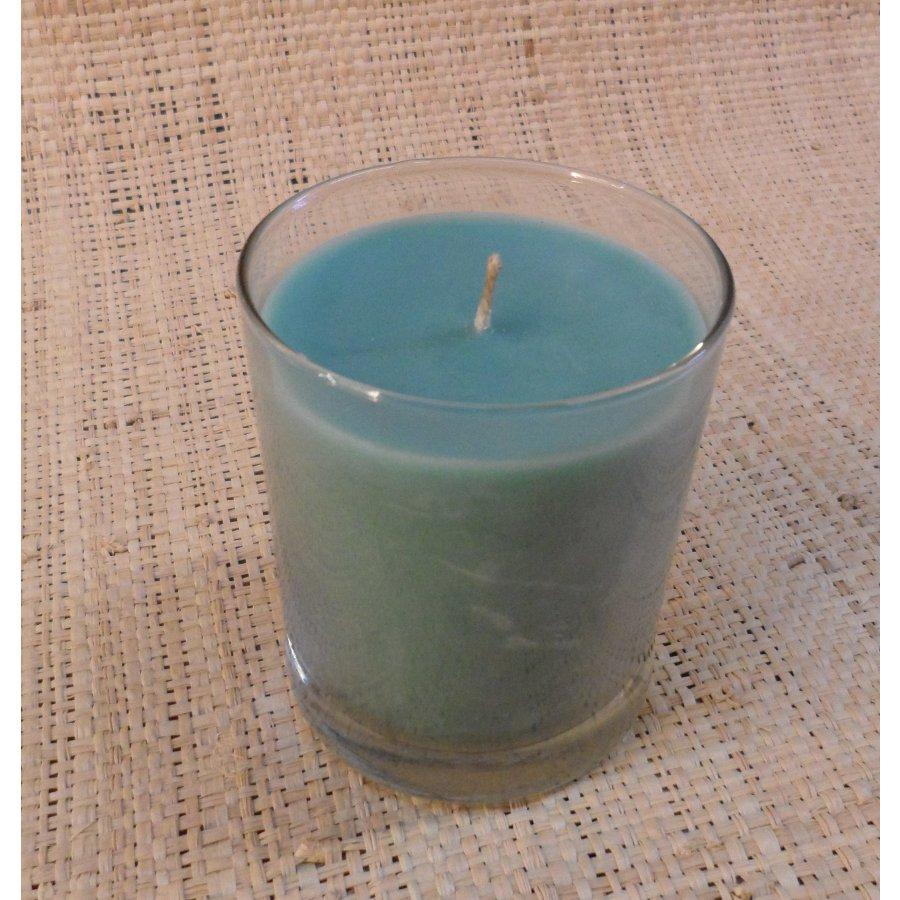 Bougie verre turquoise