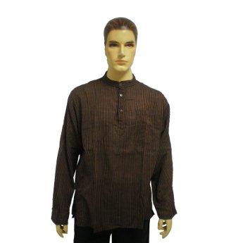 Chemise marron à rayures