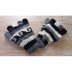 Mitaine moufle vagues noir/gris/blanc