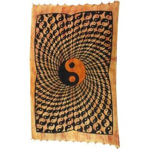 Tenture striée psychédélique Yin Yang