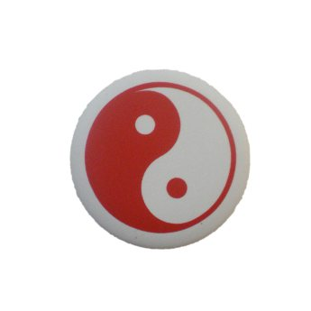 Badge yin yang  blanc rouge