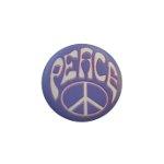 Badge Peace blanc fond mauve