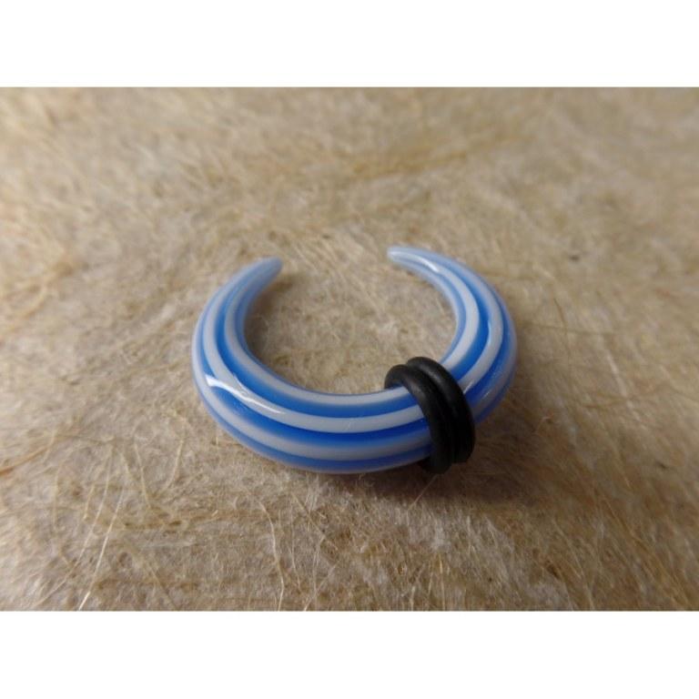 Elargisseur d'oreille demi lune blanc/bleu