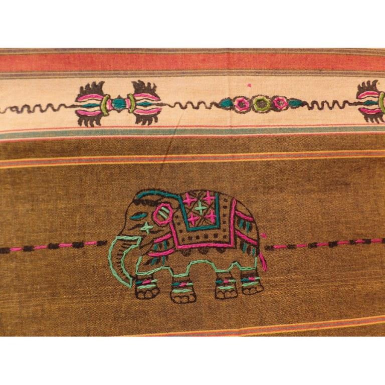 Tenture Chitwan jaune double dorjé éléphant
