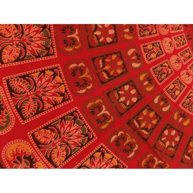 Tenture maxi rouge flowers oranges/vertes