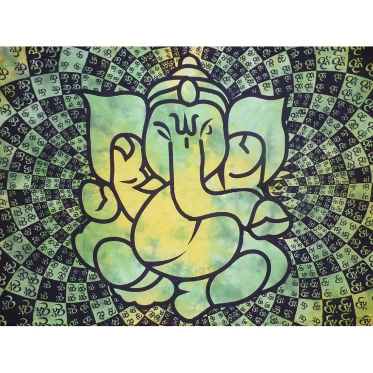 Tenture Ganesh lotus aum verte/jaune