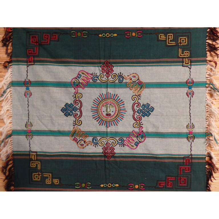Mini tenture verte chitwan soleil et noeuds tibétains