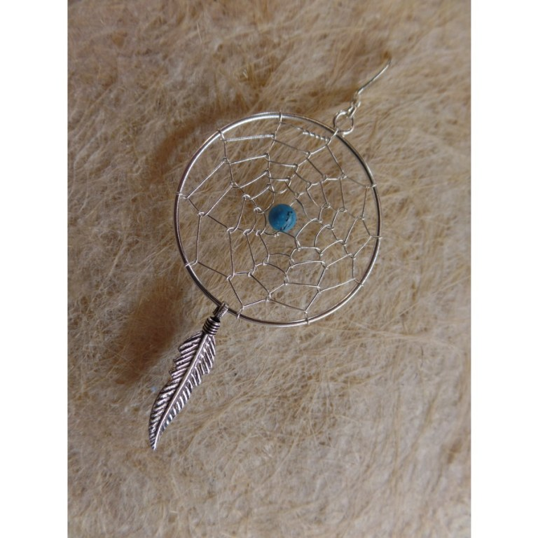 Boucles d'oreilles dreamcatcher perle bleue
