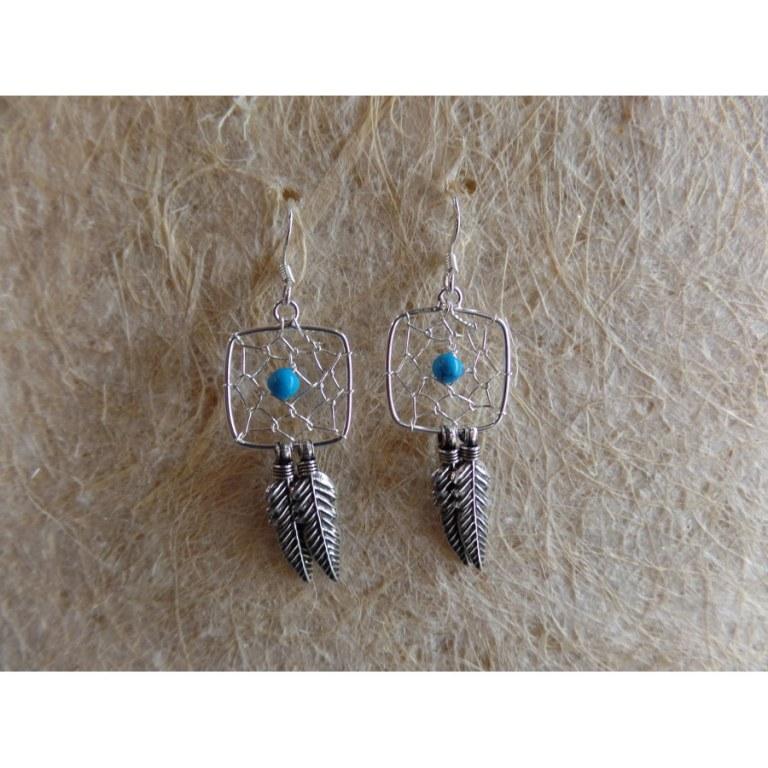 Boucles d'oreilles carrées dreamcatcher perle bleue