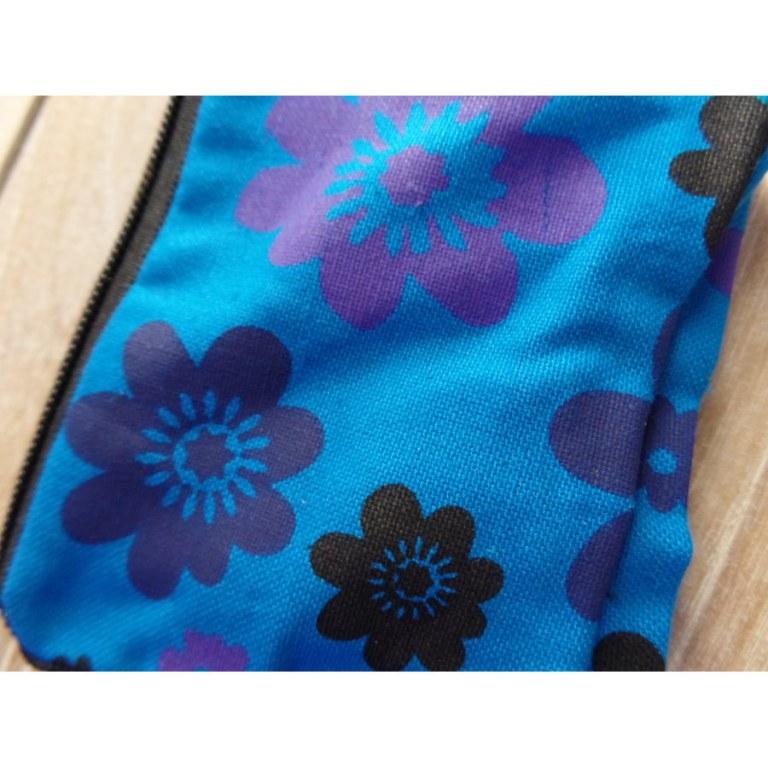 Porte monnaie bleu fleurs couleurs