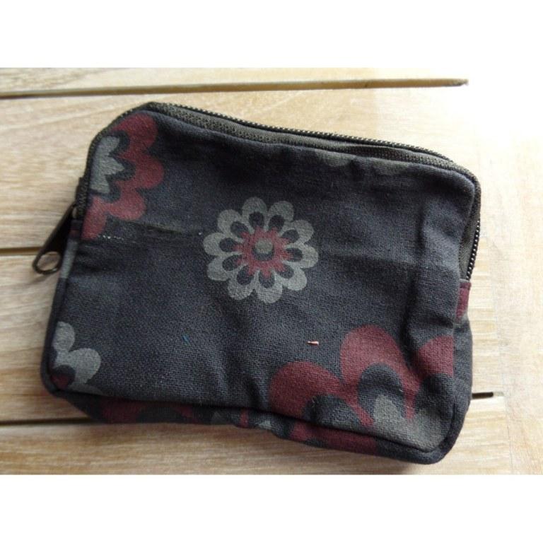 Porte monnaie gris à fleurs