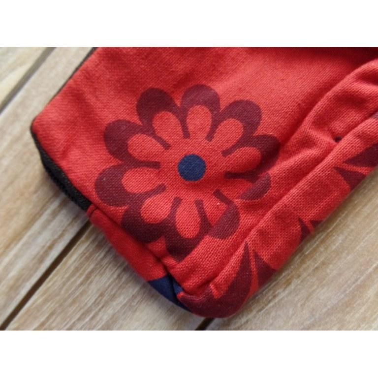 Porte monnaie rouge à fleurs