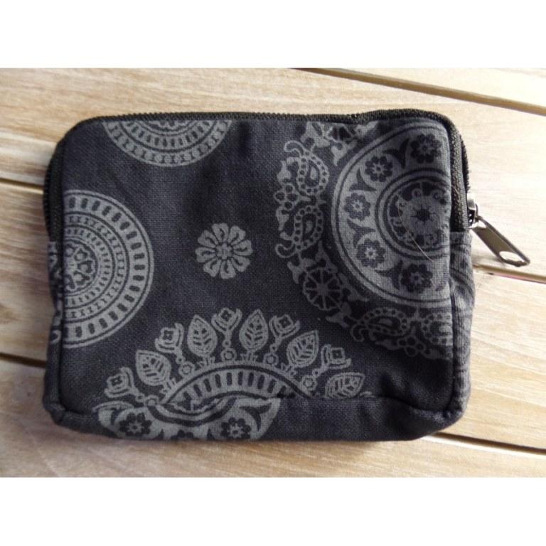 Porte monnaie noir fleurs grises