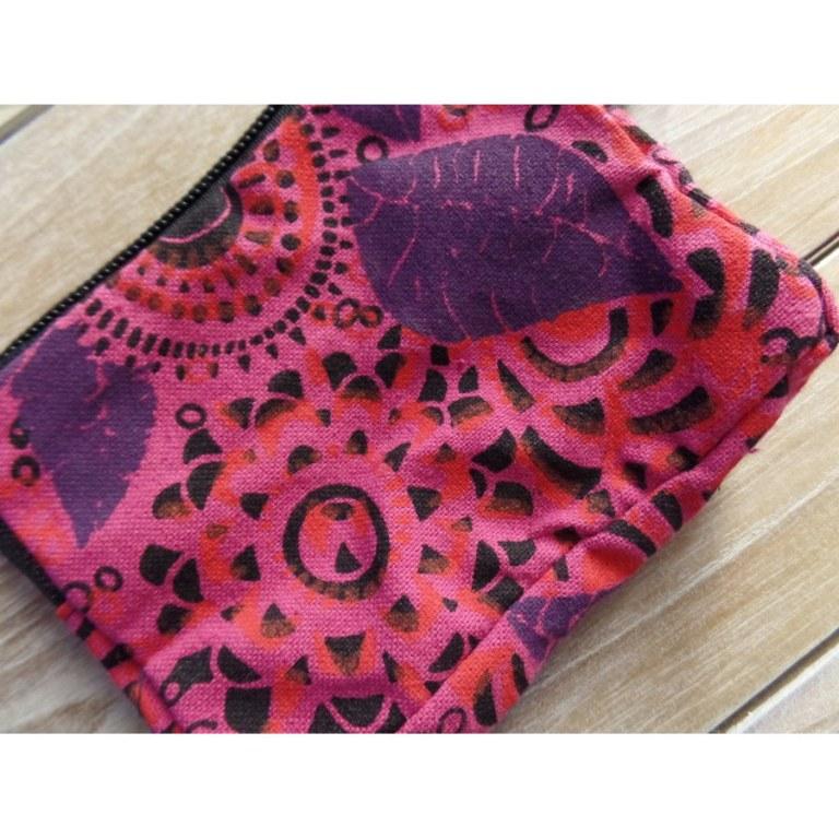 Porte monnaie rose fleurs