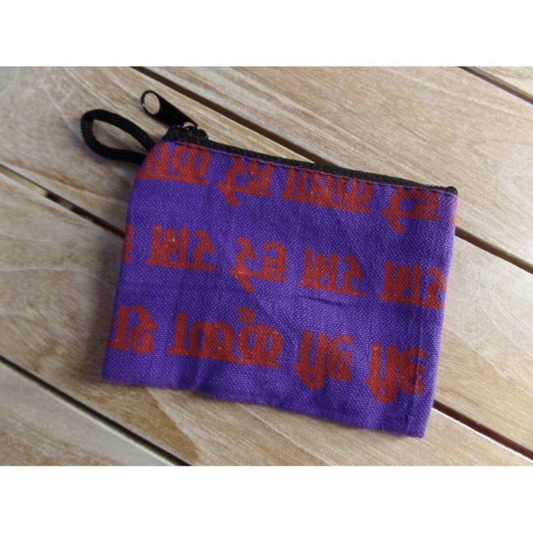Porte monnaie plat sanskrit mauve/rouge