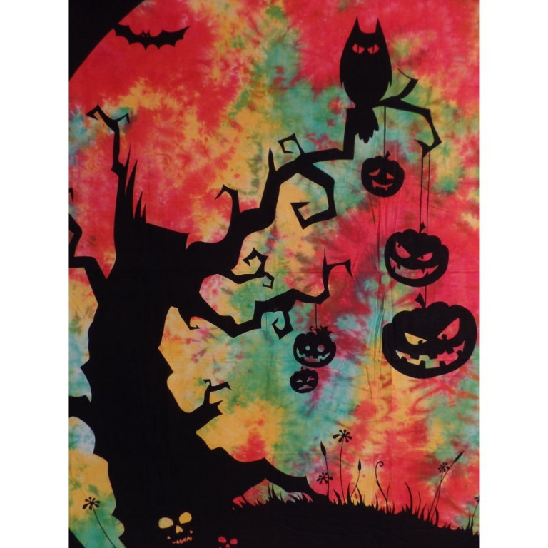 Grande tenture colors hibou halloween