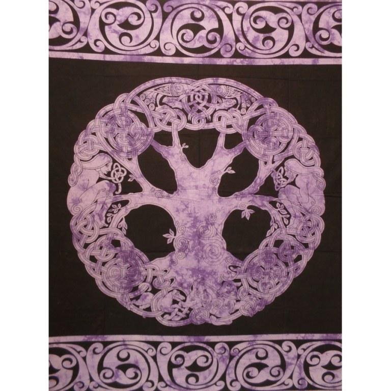 Tenture maxi arbre de vie celte mauve