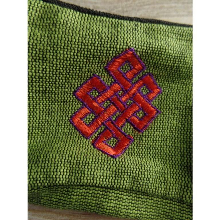 Porte monnaie vert noeud infini rouge