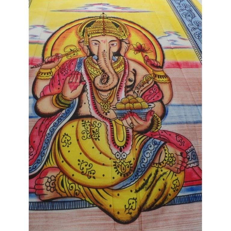 Tenture jaune/bleue/marron Ganesh