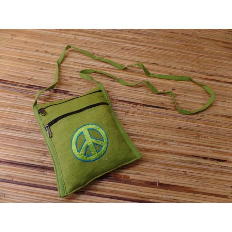 Sac passeport pistache brodé peace & love vert/bleu