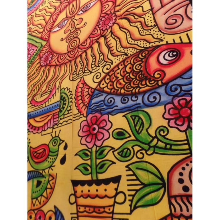 Tenture space soleil multicolore