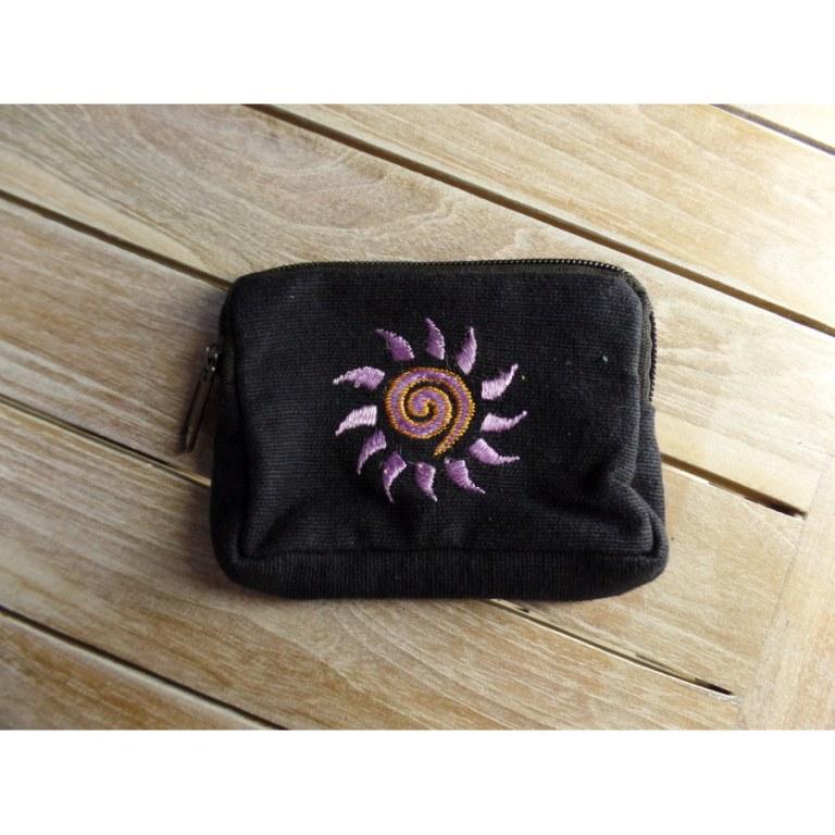 Porte monnaie noir spirale soleil parme