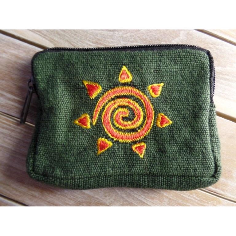 Porte monnaie vert mousse spirale rouge et or