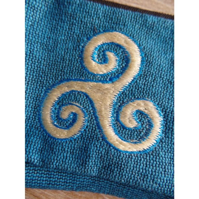 Porte monnaie bleu triskèle blanc