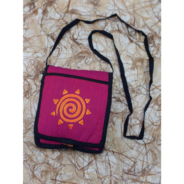 Sac passeport rose fuschia spirale orange/jaune