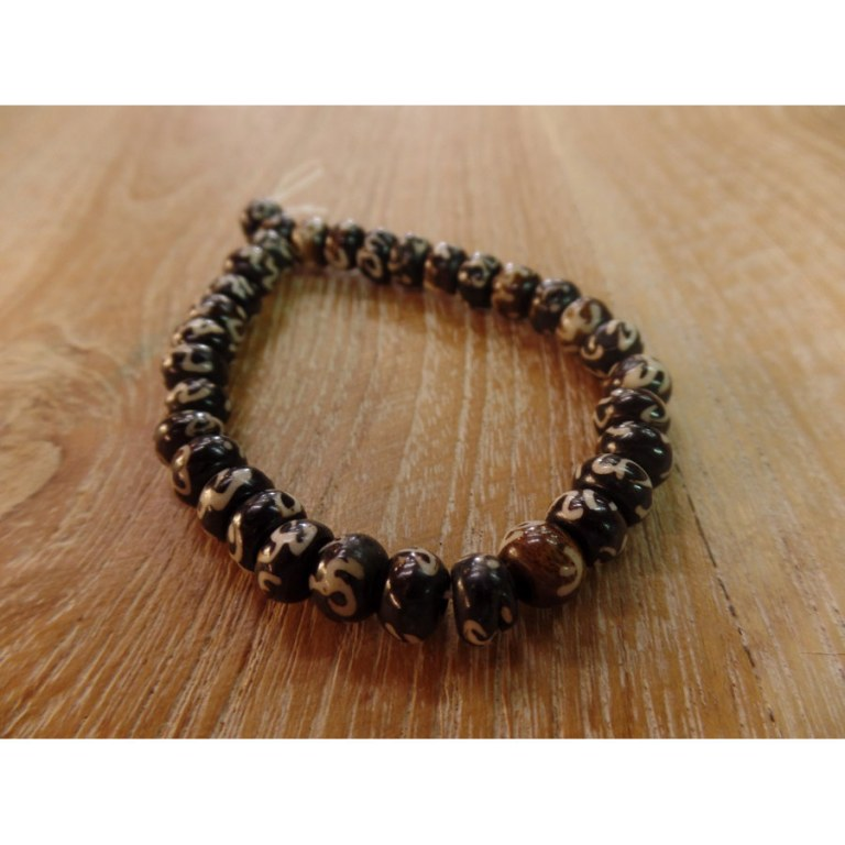 Bracelet tibétain 7 perles marron Aum