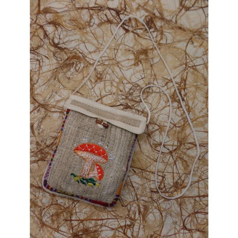 Sac chanvre ghéri broderie 2 champignons