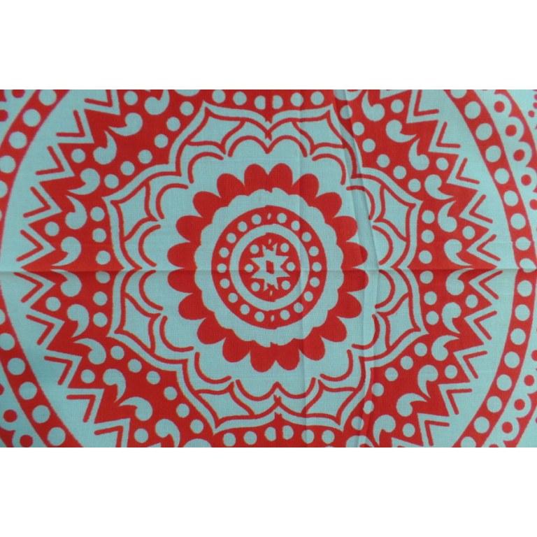 Tenture blanche lotus rouge